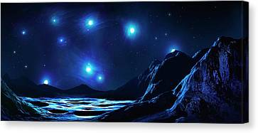 Pleiades Cluster Seen From Nearby Planet Canvas Print by Mark Garlick