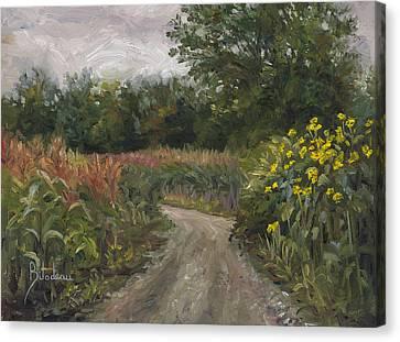 Plein Air - Corn Field Canvas Print by Lucie Bilodeau