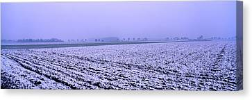 Ploughed Acre In Winter Canvas Print by Ulrich Kunst And Bettina Scheidulin