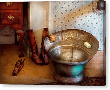 Plumber - Bath Day Canvas Print by Mike Savad