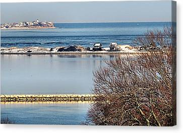 Plymouth Ma Harbor And Bay Canvas Print by Janice Drew