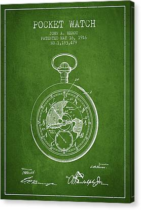Pocket Watch Patent From 1916 - Green Canvas Print by Aged Pixel
