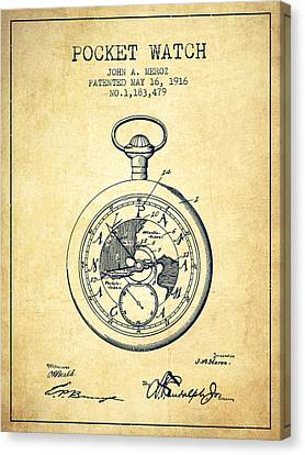 Pocket Watch Patent From 1916 - Vintage Canvas Print by Aged Pixel