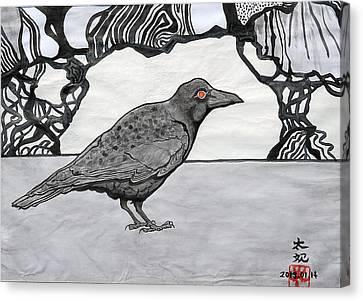 Poe's Friend By Taikan Canvas Print by Taikan Nishimoto