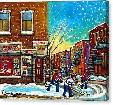 Pointe St. Charles Hockey Game At The Depanneur Montreal City Scenes Canvas Print by Carole Spandau