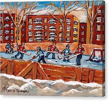 Pointe St. Charles Hockey Rink Southwest Montreal Winter City Scenes Paintings Canvas Print by Carole Spandau