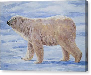 Polar Bear Mini Painting Canvas Print by Crista Forest