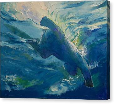 Polar Bear Swim Canvas Print by Michael Creese