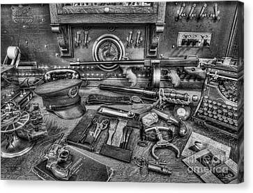 Police - Behind The Front Desk Black And White Canvas Print by Lee Dos Santos
