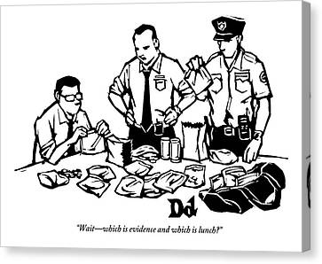 Police Detectives Search Through A Table Canvas Print by Drew Dernavich