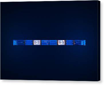Police Emergency Lights With Blue Surrounding Light Canvas Print by Fizzy Image