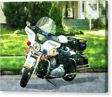 Police - Police Motorcycle Canvas Print by Susan Savad