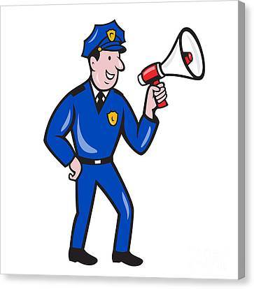 Policeman Shouting Bullhorn Isolated Cartoon Canvas Print by Aloysius Patrimonio