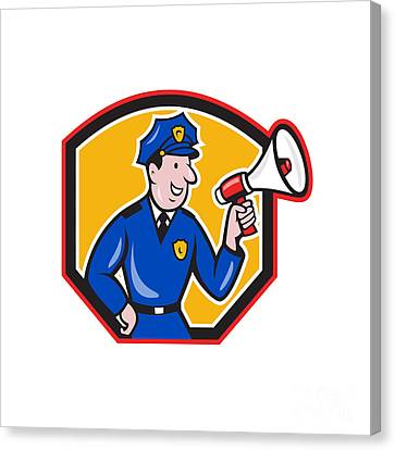 Policeman Shouting Bullhorn Shield Cartoon Canvas Print by Aloysius Patrimonio