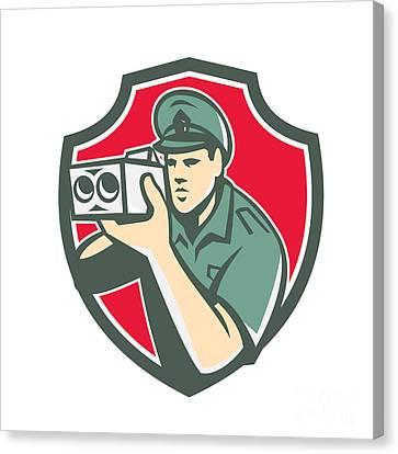 Policeman Speed Camera Shield Retro Canvas Print by Aloysius Patrimonio