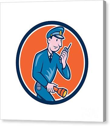 Policeman Torch Radio Circle Cartoon Canvas Print by Aloysius Patrimonio