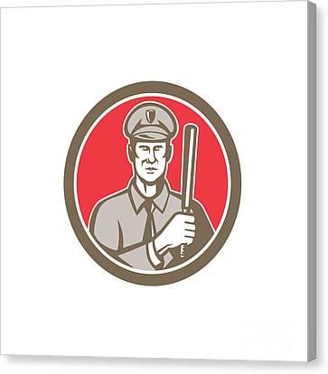 Policeman With Night Stick Baton Circle Retro Canvas Print by Aloysius Patrimonio