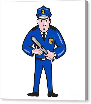 Policeman With Night Stick Baton Standing Canvas Print by Aloysius Patrimonio