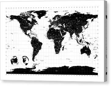 Political World Map Canvas Print by Michael Tompsett
