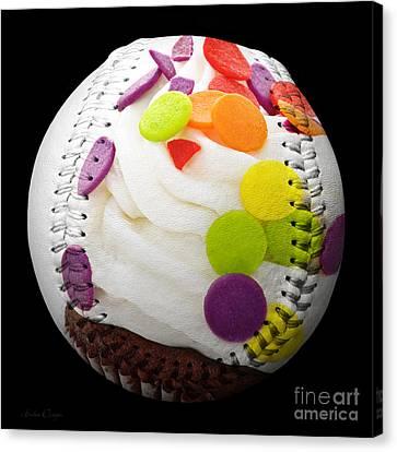 Polka Dot Cupcake Baseball Square Canvas Print by Andee Design