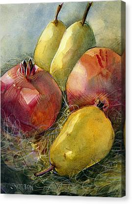 Pomegranates And Pears Canvas Print by Jen Norton