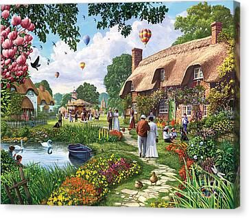 Pond Cottage Canvas Print by Steve Crisp