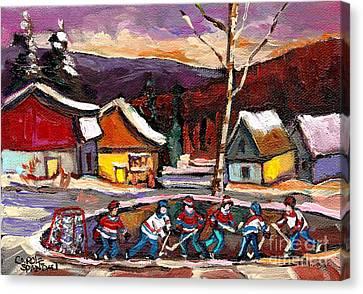 Pond Hockey Birch Tree And Mountain Canvas Print by Carole Spandau