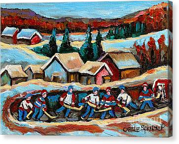 Pond Hockey Game In The Country Canvas Print by Carole Spandau