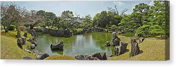 Pond In Ninomaru Garden At Nijo Castle Canvas Print by Panoramic Images