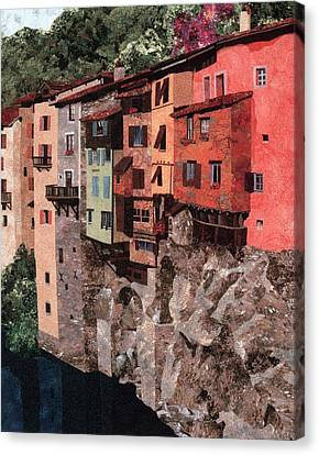 Pont En Royans Canvas Print by Lenore Crawford
