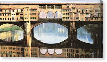 Ponte Vecchio A Firenze Canvas Print by Guido Borelli