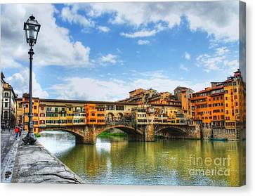 Ponte Vecchio At Florence Italy Canvas Print by Mel Steinhauer