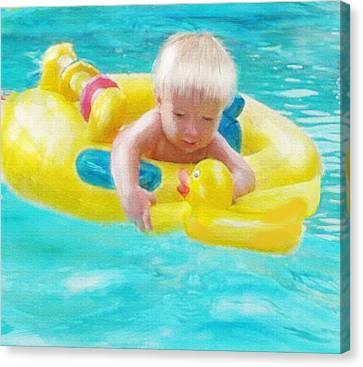 Pool Baby Canvas Print by Jane Schnetlage