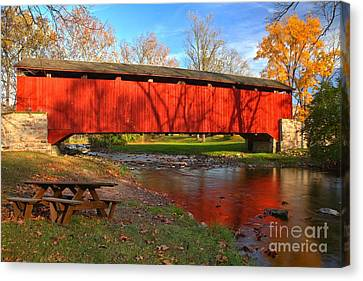 Poole Forge Covered Bridge Reflections In The Conestoga Canvas Print by Adam Jewell