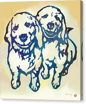 Pop Art Etching Poster - Dog - 10 Canvas Print by Kim Wang