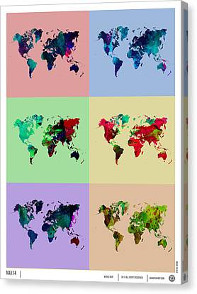 Pop Art World Map Canvas Print by Naxart Studio