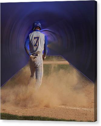 Pop Slide At Third Base Canvas Print by Thomas Woolworth