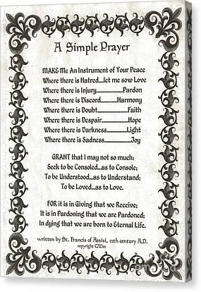 Pope Francis St. Francis Simple Prayer Fleury Of Faith Canvas Print by Desiderata Gallery