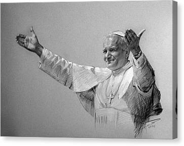 Pope John Paul II Bw Canvas Print by Ylli Haruni