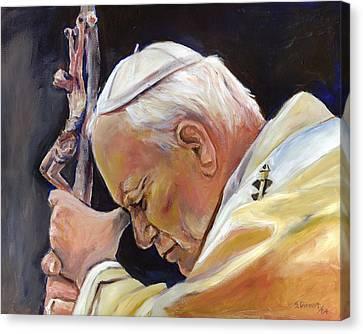 Pope John Paul II Canvas Print by Sheila Diemert