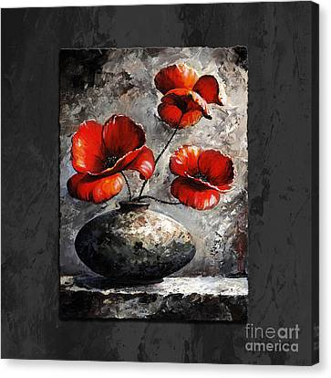 Poppies 02 - Style Black White And Red Canvas Print by Emerico Imre Toth