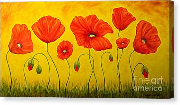 Poppies At The Time Of Canvas Print by Veikko Suikkanen