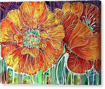 Poppies Batik Abstract Canvas Print by Marcia Baldwin