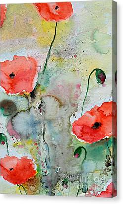 Poppies - Flower Painting Canvas Print by Ismeta Gruenwald