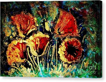 Poppies In Gold Canvas Print by Zaira Dzhaubaeva