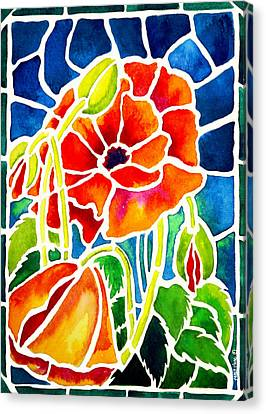 Poppies In Stained Glass Canvas Print by Janis Grau