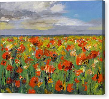 Poppy Field With Storm Clouds Canvas Print by Michael Creese