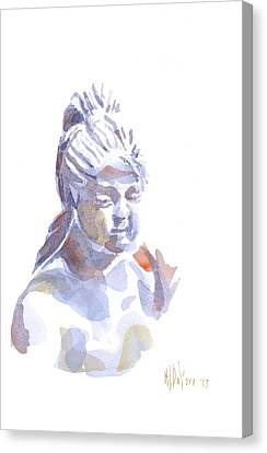 Porcelain Maiden In Watercolor Canvas Print by Kip DeVore