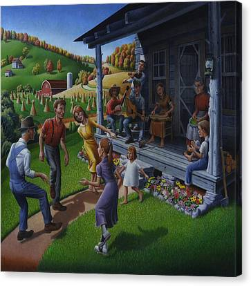 Porch Music And Flatfoot Dancing - Mountain Music - Farm Folk Art Landscape - Square Format Canvas Print by Walt Curlee