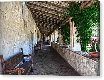Porch On Carmel Mission Canvas Print by RicardMN Photography